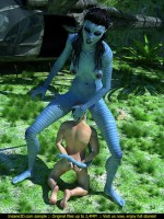 Striped blue female alien with a long tail strikes a soldier in the jungle to ride his dick