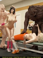White and brown 3d orcs pounding hard blond and brunette babes in the gym