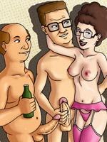 Lusty cartoon wife peggy hill gonna be fucked by three cocks at once.