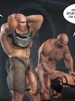 Cartoon gay superheroes sucking each other hard throbbing dicks outdoors.