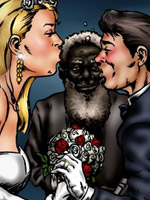 Lustful toon bride is going to fuck with a black old boy with beard