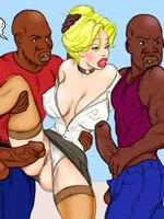 Blonde toon blonde with perfect body playing with black balls and sucking black dick.