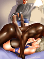 Dirty bride and her maid fucking with a black toon dude with an enormous long donkey
