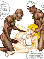 Cock hugry blonde toon milf gonna please two black dongs while her husband slleping drunk.