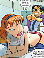 Lustful lois giving cool handjob to two men at a time in the coolest cartoon porn