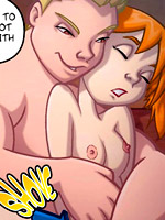 Dirty chick from sex comics rides a stiff rod passionately